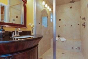 bathroom in the Golden Mango room