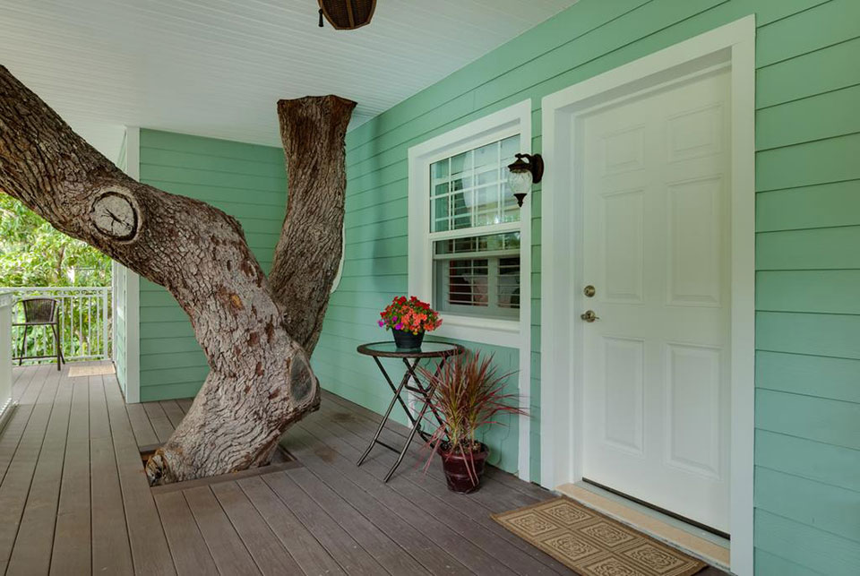 oak tree going through the SeaGlass Inn Bed and Breakfast